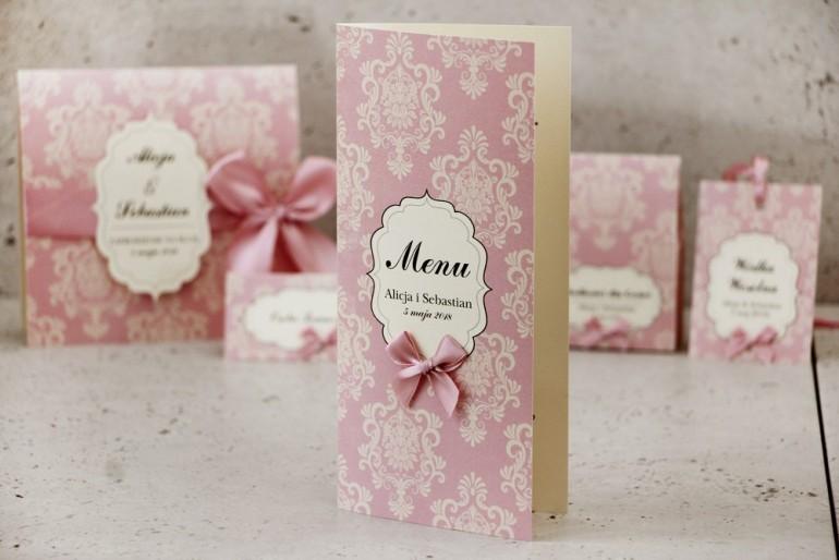 Menu weselne, stół weselny - Ornament nr 1 - Papier perłowy z kokardką, pudrowy róż