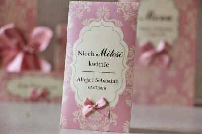 Podziękowania dla Gości weselnych - nasiona Niezapominajki - Ornament nr 1 - Perłowe z kokardką