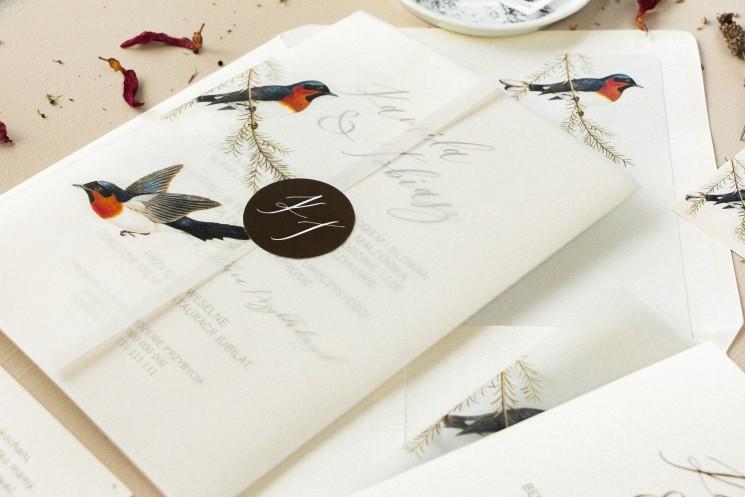 Retro zaproszenia ślubne z grafiką ptaków w stylu vintage