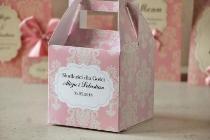 Pudełko na ciasto kwadratowe, tort weselny - Ornament nr 1 - Pudrowy róż z ornamentami