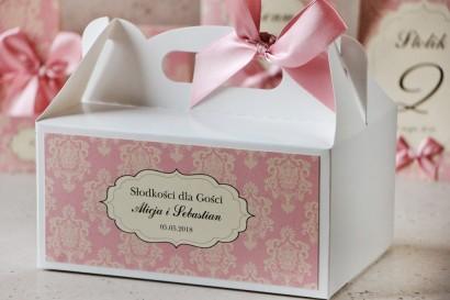 Prostokątne pudełko na ciasto, tort weselny, ślub - Ornament nr 1 - Perłowy róż z kokardą
