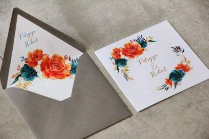 Zaproszenia ślubne z kopertą - Cykade nr 6 ze złoceniem - Kompozycja kwiatów pomarańczowych i szmaragdowych