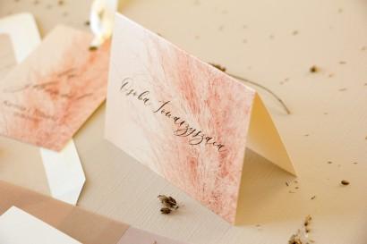 Winietki ślubne, wizytówki z personalizacją na stół weselny z motywem trawy pampasowej