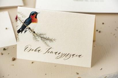 Winietki ślubne, wizytówki z personalizacją na stół weselny na perłowym papierze z grafiką ptaków w stylu vintage