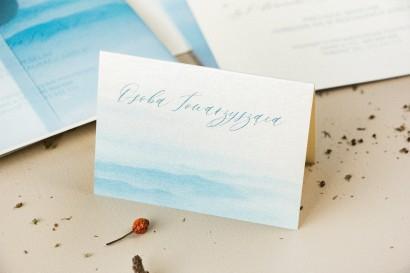 Winietki ślubne, wizytówki z personalizacją na stół weselny na perłowym papierze z akwarelową grafiką