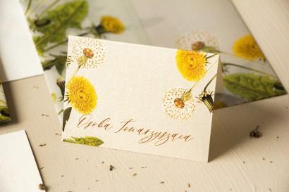 Winietki ślubne, wizytówki z personalizacją na stół weselny na perłowym papierze z motywem dmuchawca i mleczów