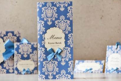 Menu weselne, stół weselny - Ornament nr 2 - Papier perłowy z kokardką, chabrowe ornamenty