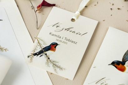 Zawieszki na butelki weselne na perłowym papierze z grafiką ptaków w stylu vintage
