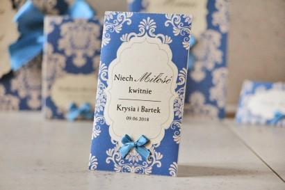 Podziękowania dla Gości weselnych - nasiona Niezapominajki - Ornament nr 2 - Chabrowe z ornamentami i kokardką