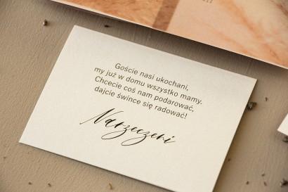 Bilecik na papierze perłowym do zaproszeń ślubnych ze srebrzeniem z kolekcji Opal nr 1