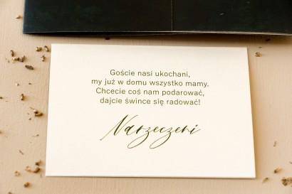 Bilecik na papierze perłowym do zaproszeń ślubnych z kolekcji Opal nr 2