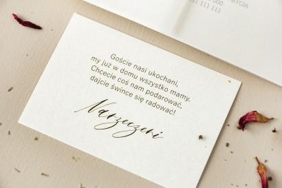 Bilecik na papierze perłowym do zaproszeń ślubnych z kolekcji Opal nr 3