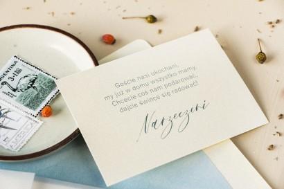 Bilecik na papierze perłowym do zaproszeń ślubnych z kolekcji Opal nr 4