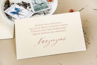 Bilecik na papierze perłowym do zaproszeń ślubnych z kolekcji Opal nr 5