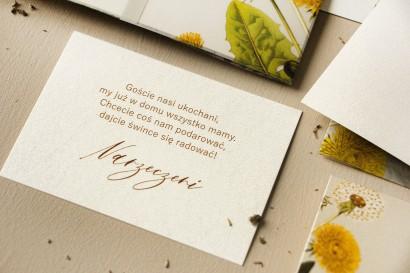 Bilecik na papierze perłowym do zaproszeń ślubnych z kolekcji Opal nr 6
