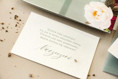 Bilecik na papierze perłowym do zaproszeń ślubnych z kolekcji Opal nr 9