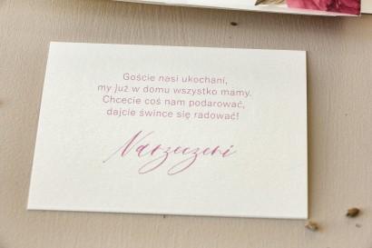 Bilecik na papierze perłowym do zaproszeń ślubnych z kolekcji Opal nr 10