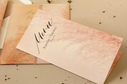 Menu ślubne - na stoły weselne - na perłowym papierze z motywem trawy pampasowej
