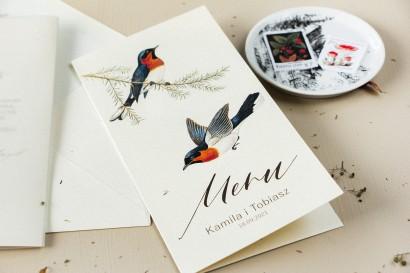 Menu ślubne - na stoły weselne - na perłowym papierze z grafiką ptaków w stylu vintage - Amelia-Wedding.pl