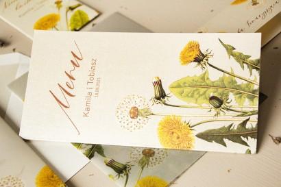 Menu ślubne - na stoły weselne - na perłowym papierze z motywem dmuchawca i mleczów - Amelia-Wedding.pl