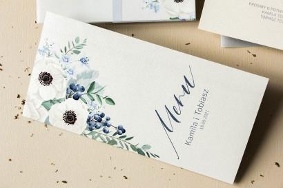 Menu ślubne - na stoły weselne - na perłowym papierze z białymi zawilcami