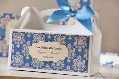 Prostokątne pudełko na ciasto, tort weselny, ślub - Ornament nr 2 - Chabrowe z ornamentami