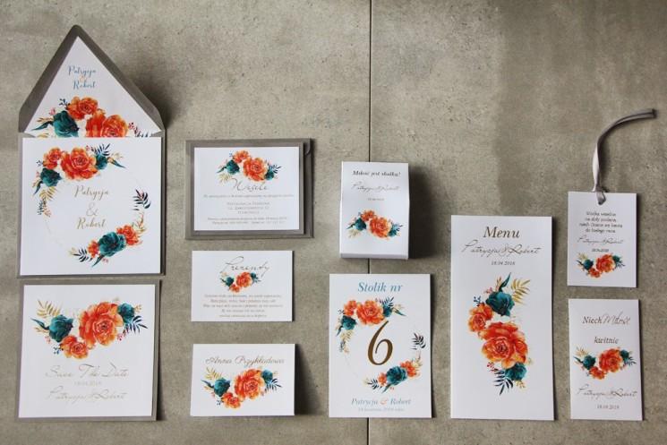 Zaproszenie ślubne z dodatkami - Cykade nr 6 ze złoceniem - Kompozycja kwiatów pomarańczowych i szmaragdowych