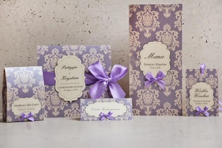 Zaproszenie ślubne z dodatkami - Ornament nr 3 - Perłowe z liliowym wzorem i kokardą