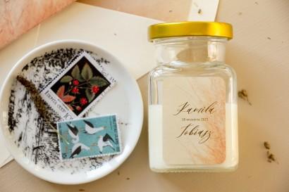 Świeczki Ślubne - Prezenty dla gości weselnych, etykieta z motywem trawy pampasowej