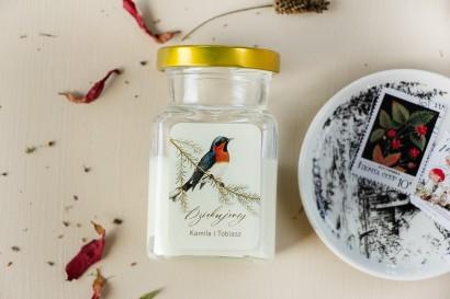 Świeczki Ślubne - Prezenty dla gości weselnych, etykieta z grafiką ptaków w stylu vintage