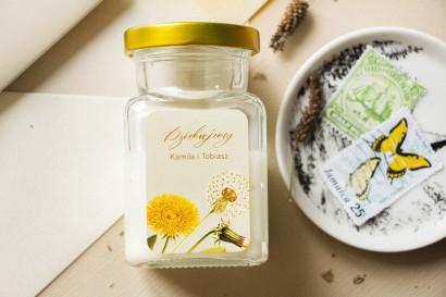 Świeczki Ślubne - Prezenty dla gości weselnych, etykieta z motywem dmuchawca i mleczów