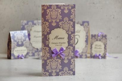 Menu weselne, stół weselny - Ornament nr 3 - Papier perłowy z kokardką, Liliowe eleganckie