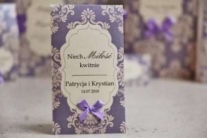 Podziękowania dla Gości weselnych - nasiona Niezapominajki - Ornament nr 3 - Liliowe z ornamentami i kokardką