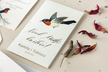 Podziękowania ślubne, nasionka na gości weselnych. Opakowanie z grafiką ptaków w stylu vintage