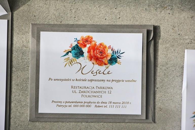 Bilecik dwuwarstwowy prezenty ślubne wesele - Cykade nr 6 ze złoceniem - intensywnie pomarańczowe i szmaragdowe kwiaty