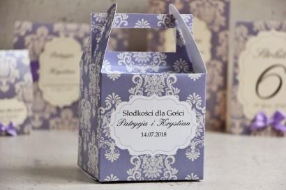 Pudełko na ciasto kwadratowe, tort weselny - Ornament nr 3 - Liliowe z ornamentami