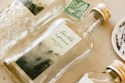 Ślubne Butelki na nalewki, prezenty dla Gości. Etykieta z leśną grafiką