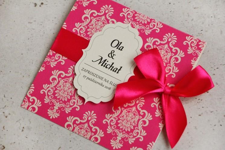 amarantowe zaproszenia ślubne