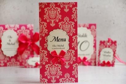 Menu weselne, stół weselny - Ornament nr 5 - Papier perłowy z kokardką, intensywne, amarantowy wzór