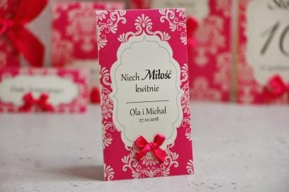 Podziękowania dla Gości weselnych - nasiona Niezapominajki - Ornament nr 5 - Amarantowe z ornamentami i kokardką