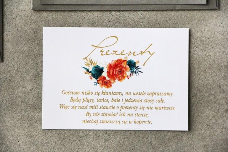 Bilecik prezenty ślubne wesele - Cykade nr 6 ze złoceniem - Intensywnie pomarańczowe i szmaragdowe kwiaty