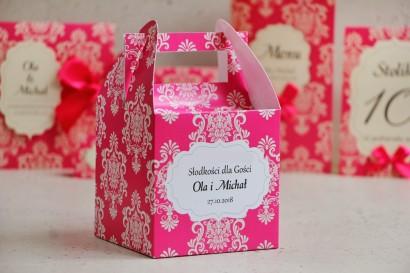 Pudełko na ciasto kwadratowe, tort weselny - Ornament nr 5 - Amarantowe z ornamentami