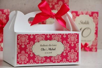 Prostokątne pudełko na ciasto, tort weselny, ślub - Ornament nr 5 - Intensywny amarant