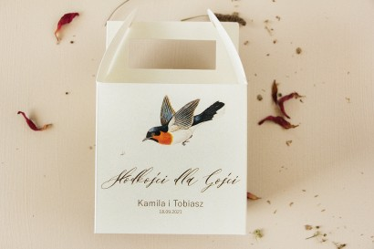Ślubne Pudełko na Ciasto Weselne (prostokątne) z grafiką ptaków w stylu vintage