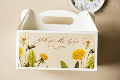 Ślubne Pudełko na Ciasto Weselne (prostokątne) z motywem dmuchawca i mleczów