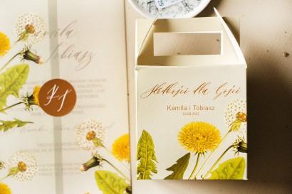 Podziękowania dla gości ślubnych - Pudełko na Ciasto weselne z motywem dmuchawca i mleczów