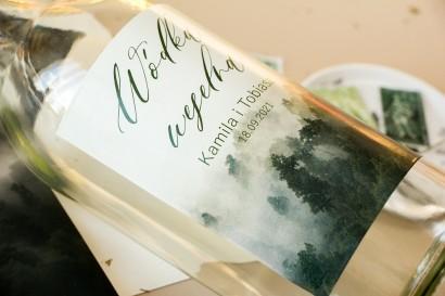 Ślubne Etykiety samoprzylepne na butelki weselne z leśną grafiką