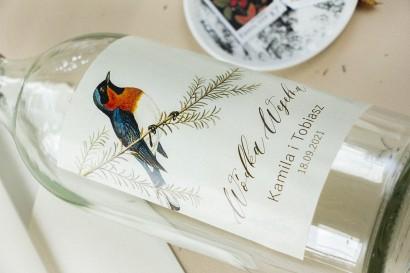 Ślubne Etykiety samoprzylepne na butelki weselne z grafiką ptaków w stylu vintage