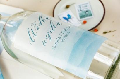 Ślubne Etykiety samoprzylepne na butelki weselne z akwarelową grafiką