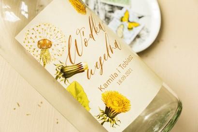 Ślubne Etykiety samoprzylepne na butelki weselne z motywem dmuchawca i mleczów